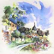 Churches Drawings - Monpazier in France 01 by Miki De Goodaboom