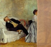 Reclinging Framed Prints - Monsieur and Madame Edouard Manet Framed Print by Edgar Degas