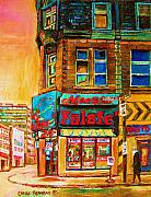 Montreal Buildings Painting Prints - Monsieur Falafel Print by Carole Spandau