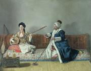 Playing Music Framed Prints - Monsieur Levett and Mademoiselle Helene Glavany in Turkish Costumes Framed Print by Jean Etienne Liotard