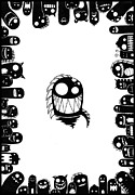 Teeth Drawings - Monster Army by Kalie Hoodhood