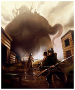 Fantasy Creature Posters - Monster Attack Poster by Michael Myers