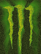 Green Monster Digital Art Prints - Monster Energy Word Mosaic Print by Paul Van Scott