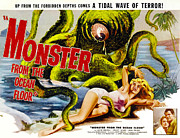 1950s Movies Framed Prints - Monster From The Ocean Floor, Anne Framed Print by Everett