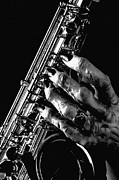 Music Prints - Monster hand Saxophone Print by M K  Miller