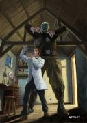 Frankenstein Posters - Monster In Victorian Science Laboratory Poster by Martin Davey
