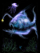 Lure Digital Art Posters - Monster of the Deep Poster by Russell Pierce