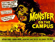 Lobbycard Framed Prints - Monster On The Campus, Arthur Franz Framed Print by Everett