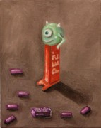 Monster Painting Posters - Monster Pez Poster by Leah Saulnier The Painting Maniac