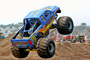 Extreme Sport Posters - Monster Trucks - Big Things Go Boom Poster by Christine Till
