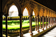 Fortification Prints - Mont Saint Michel Cloister Print by Elena Elisseeva