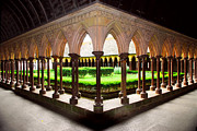 Archway Prints - Mont Saint Michel cloister garden Print by Elena Elisseeva