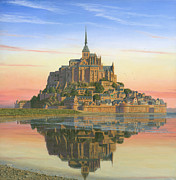 Historic Architecture Paintings - Mont Saint-Michel Morn by Richard Harpum