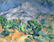 Mountain Road Painting Posters - Mont Sainte Victoire Poster by Paul Cezanne