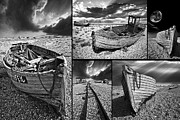 Mono Framed Prints - Montage Of Wrecked Boats Framed Print by Meirion Matthias