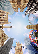 Norman Posters - Montage Picture Of London Landmarks, View From Below (digital Composite) Poster by Caroline Purser