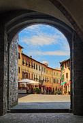 Portal Framed Prints - Montalcino loggia Framed Print by Inge Johnsson