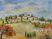 Villa Paintings - Montalcino Tuscany by Debra Walters