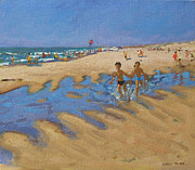 Low Tide Paintings - Montalivet France by Andrew Macara