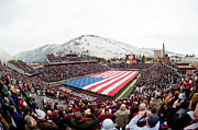 Ncaa Photo Framed Prints - Montana Washington-Grizzly Stadium Framed Print by University of Montana