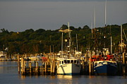 Boats Prints - Montauk Harbor at Dawn Print by Christopher Kirby