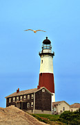 Blue Red And White Posters - Montauk Lighthouse 2 Poster by Dennis Clark