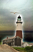 Blue Red And White Posters - Montauk Lighthouse 3 Poster by Dennis Clark