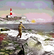Point Park Mixed Media Posters - Montauk Point Lighthouse Poster by Charles Shoup