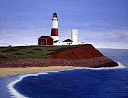 North American Lighthouses - Paintings By Frederic Kohli - Montauk Point Lighthouse by Frederic Kohli