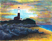 Rain Painting Framed Prints - Montauk Point Framed Print by Teddy Campagna