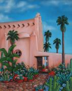 Churches Painting Originals - Montecito Church by Lorraine Klotz
