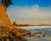 Rocky Shoreline Paintings - Montecito Sunset by Douglas Fincham