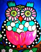 Black And White Owl Paintings - Montee by Amy Carruth-Drum