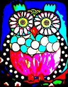 Black And White Owl Paintings - Montee Posterized by Amy Carruth-Drum