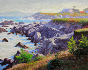 Coastal Oil Paintings - Monteray Bay morning 1 by Gary Kim