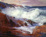 Rocky Coast Paintings - Monterey Coast by David Lloyd Glover