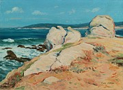 Californian Posters - Monterey Coast Poster by Guy Rose
