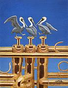 Pelican Painting Originals - Monterey Dixieland Jazz Festival 2011 by Will Bullas
