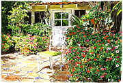 Garden Chair Framed Prints - Monterey Guest House Framed Print by David Lloyd Glover
