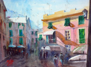Watercolour Mixed Media Originals - Monterosso by Andre MEHU