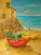 Warm Colors Painting Posters - Monterosso on Riviera Di Levante Poster by Pamela Allegretto