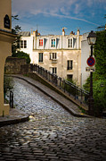 Streetlight Prints - Montmartre Alley Print by Inge Johnsson