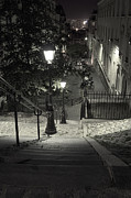 Flight Of Stairs Posters - Montmartre steps by night Poster by Fabrizio Ruggeri