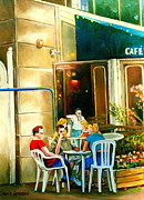 Spring Scenes Prints - Montreal Cafe Paintings Rue St. Denis Print by Carole Spandau
