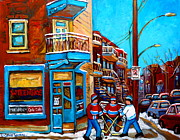 Streethockey Painting Prints - Montreal City Scene Hockey At Wilenskys Print by Carole Spandau