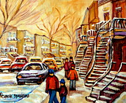 Winter Fun Paintings - Montreal City Scene In Winter by Carole Spandau