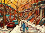 Montreal Restaurants Paintings - Montreal Citystreet In Winter by Carole Spandau