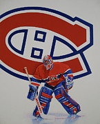 Hockey Player Painting Originals - Montreal by Cliff Spohn