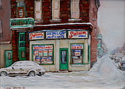 Montreal Storefronts Paintings - Montreal Corner Market Winter Scene by Carole Spandau