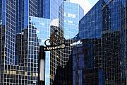 Downtown Montreal Art - Montreal cycling lane in a glass city by Pierre Leclerc